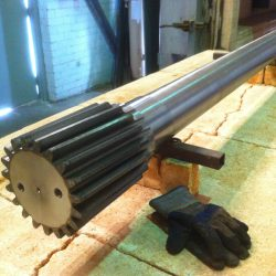 Flame Hardened Geared Shaft Ready for Tempering